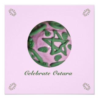 """Equinoccio de primavera rosado y verde de Ostara Invitación 5.25"""" X 5.25"""""""