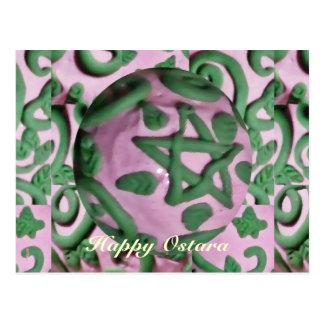 Equinoccio de primavera rosado y verde de Ostara Tarjeta Postal