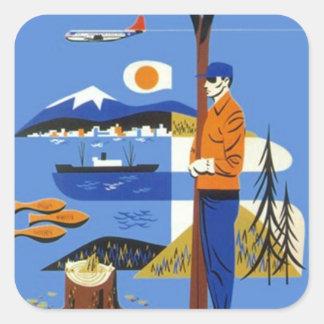 Equipaje del noroeste pacífico del viaje del pegatina cuadradas personalizadas