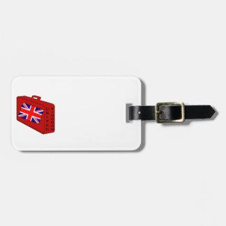 Equipaje del rojo de la bandera de Reino Unido Etiquetas Bolsas