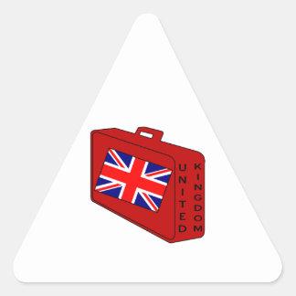 Equipaje del rojo de la bandera de Reino Unido Pegatina Triangular