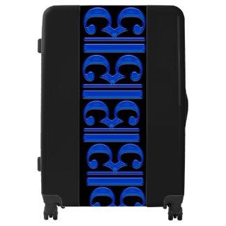 Equipaje grande (maleta) con el borde azul