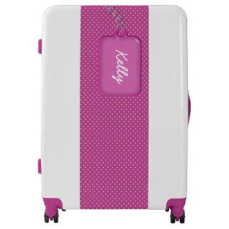 Equipaje púrpura y blanco personalizado bonito de maletas
