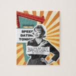 Equipaje retro de la mujer del arte pop puzzle con fotos