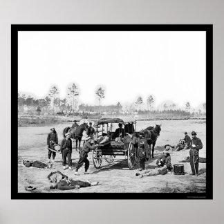 Equipo 1863 de la ambulancia de Zouave Póster