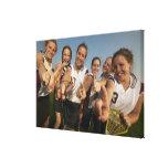 Equipo adolescente del lacrosse (de 16-17) que impresión en lienzo