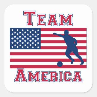 Equipo América de la bandera americana del fútbol Calcomania Cuadradas