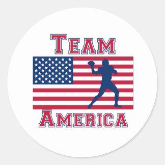 Equipo América de la bandera americana del Etiqueta Redonda