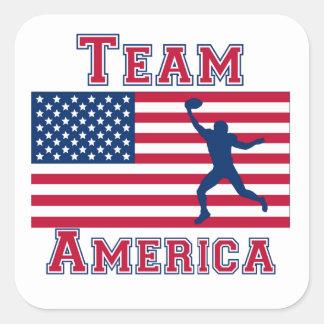 Equipo América de la bandera americana del Calcomanía Cuadradas