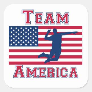 Equipo América de la bandera americana del punto Colcomanias Cuadradass