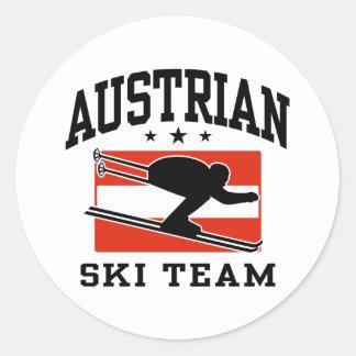 Equipo austríaco del esquí pegatina redonda