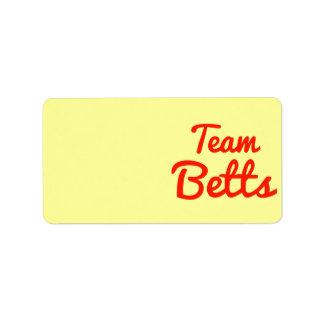 Equipo Betts Etiqueta De Dirección