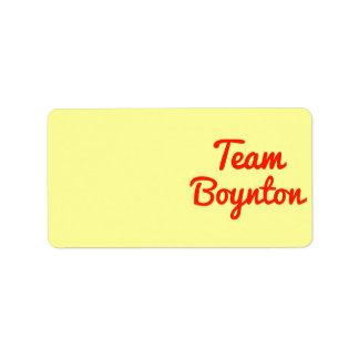 Equipo Boynton Etiquetas De Dirección