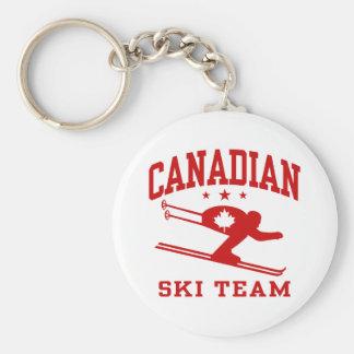 Equipo canadiense del esquí llavero redondo tipo pin