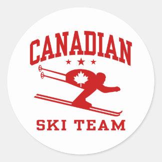 Equipo canadiense del esquí pegatina redonda