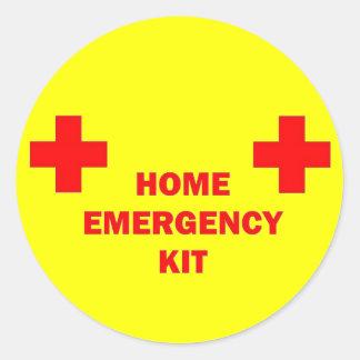 Equipo casero de la emergencia pegatina redonda