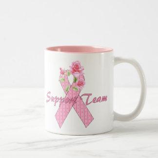 Equipo de ayuda del cáncer de pecho taza de café