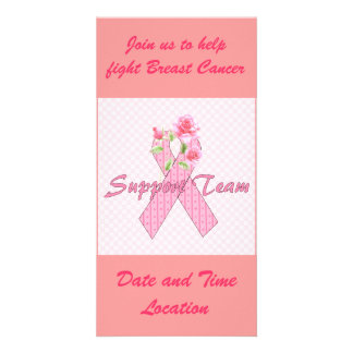 Equipo de ayuda del cáncer de pecho plantilla para tarjeta de foto