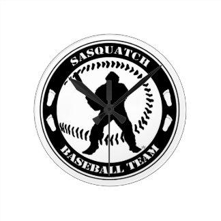 Equipo de béisbol de Sasquatch Reloj De Pared