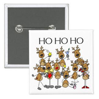 Equipo de camisetas y de regalos del reno pin cuadrado