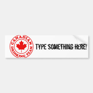Equipo de consumición canadiense pegatina de parachoque