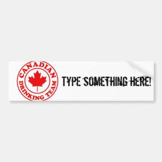 Equipo de consumición canadiense pegatina para auto