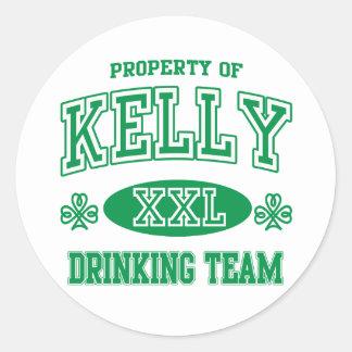 Equipo de consumición del irlandés de Kelly Pegatinas Redondas