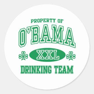 Equipo de consumición del irlandés de Obama Pegatina Redonda