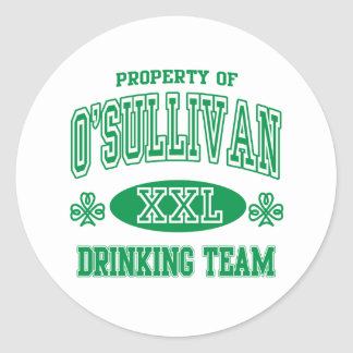 Equipo de consumición del irlandés de O'Sullivan Pegatina Redonda