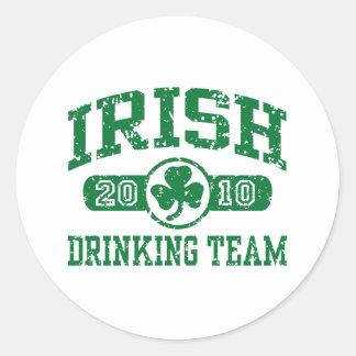 Equipo de consumición irlandés 2010 pegatinas redondas