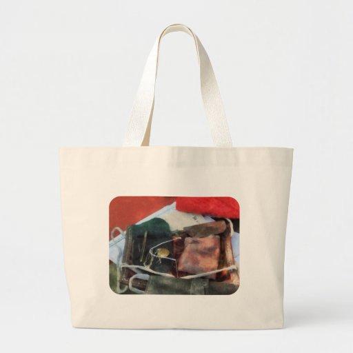 Equipo de costura de la guerra civil bolsas lienzo