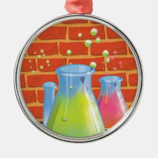 Equipo de cristal de la ciencia del dibujo animado adorno navideño redondo de metal
