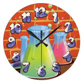 Equipo de cristal de la ciencia del dibujo animado reloj redondo grande