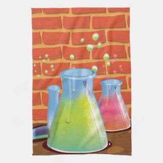 Equipo de cristal de la ciencia del dibujo animado toalla de cocina