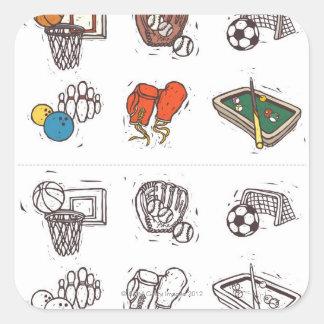 Equipo de deportes exhibido contra blanco pegatina cuadrada
