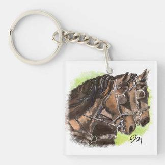 Equipo de encargo del caballo del monograma o del  llavero cuadrado acrílico a una cara