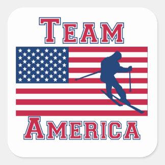 Equipo de esquí América de la bandera americana Pegatina Cuadrada