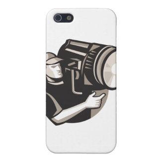 equipo de filmación con la luz de fresnel del proy iPhone 5 carcasa