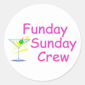 Equipo de Funday domingo Pegatina Redonda