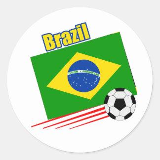 Equipo de fútbol brasileño pegatina redonda