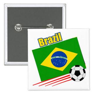 Equipo de fútbol brasileño pin cuadrado
