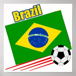 Equipo de fútbol brasileño póster