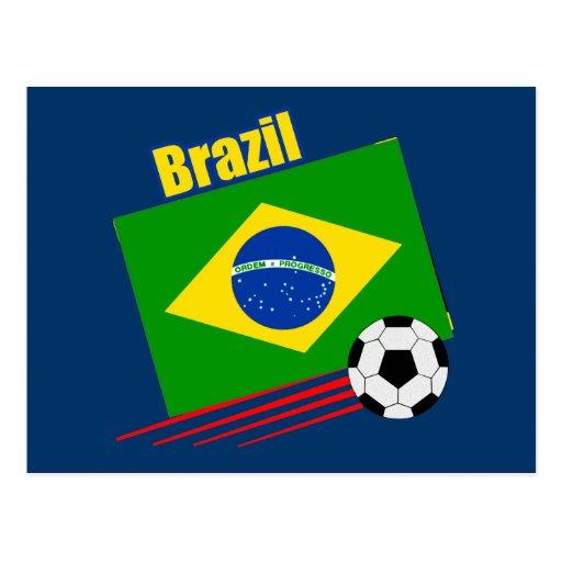 Equipo de fútbol brasileño tarjeta postal