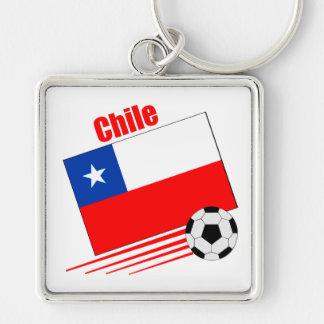 Equipo de fútbol chileno llavero cuadrado plateado