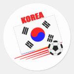 Equipo de fútbol coreano pegatina redonda