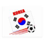 Equipo de fútbol coreano postal