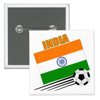 Equipo de fútbol de la India Pin Cuadrada 5 Cm
