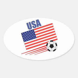 Equipo de fútbol de los E.E.U.U. Pegatina De Oval Personalizadas