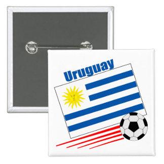 Equipo de fútbol de Uruguay Pin Cuadrada 5 Cm