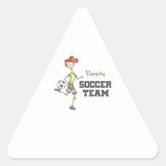 Equipo de fútbol del equipo universitario pegatina triangular